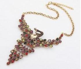 Vintage Style Metal Chain Colorized Rhinestone Peacock Shape Pendant Necklace, Bibble Bib Necklace