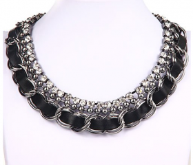 Women's Rhinestone Faux Leather Chunky Chain Choker Necklace