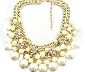 white Rhinestone Layered Cluster Ball Beads Drop Chunky Statement Bib Necklace