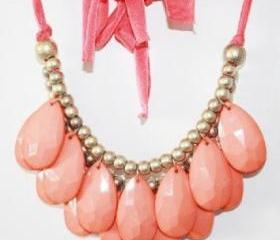 coral- Size 48mm Teardrop Double Strand Necklace, Stormy Seas Briolette Bib Statement Necklace