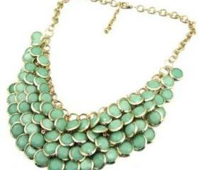 green Chunky Multi Layers Resin Gem Round Beads Statement Bib Collar Necklace