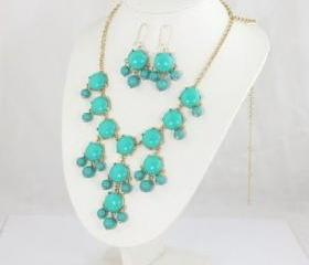 Turquoise big Bubble bib Necklace & earring,Statement Necklace, Bubble Jewelry set