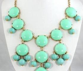 NEW Mint Green Bubble Necklace,Bubble Bib Necklace
