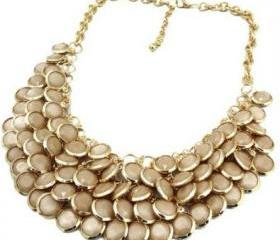 Chunky Multi Layers Resin Gem Round Beads Statement Bib Collar Necklace