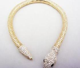 Chunky Gold/Silver Tone Full Rhinestone Choker Snake Collar Necklace