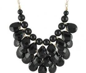 black 3 row teardrop Statement Jewelry, Chunky Necklace, Bubble Necklace