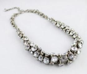New Arrival silver metal necklace with rhinestone, statement Necklace,bubble Bib Necklace