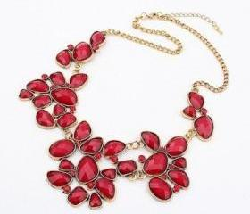 Ladies New Metal Rhinestone Drop Bubble Resin Gem Flower Choker Bib Necklace